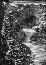 wood-engraving original print: Mountain Lake for Mountains and Molehills by Frances Cornford